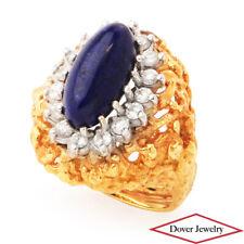 Retro Diamond Lapis Lazuli 18K Gold Nugget Cocktail Ring 14.4 Grams NR