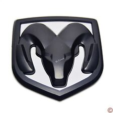 Black + White Head Grill Trunk Tailgate Emblem Badge for Dodge Ram Small 61*66mm
