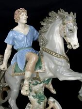 alte große AMPHORA Böhmen Porzellanfigur - Reiter auf Pferd und Wagen - Römer
