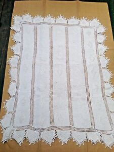 Antique French Hand Knitted Baby Crib Coverlet Blanket Grape Provence