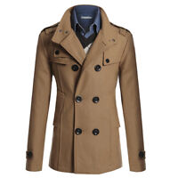 Men's Slim Fit Double Breasted Peacoat Long Jacket Winter Trench Coat Outwear