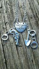 Hot! 2pcs Partners in Crime Best Friendship Necklace Set Best Friend Silver