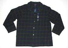 New Club Room Navy Green Tartan Plaid Men's XL Button-Down Nightshirt