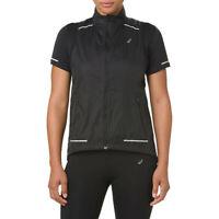 Asics Womens Lite-Show Gilet Black Sports Running Full Zip Windproof Breathable