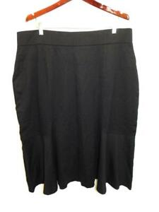 Lands End 1X 16W 18W Black Ponte Knit Midi Skirt A Line Elastic Waist Stretch