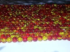 Wholesale 6MM Red & Yellow Crackle Glass Bead Round Spacer Loose Beads 130pc NEW