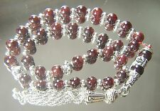8mm x 33 GARNET ISLAMIC PRAYER BEADS TASBIH MASBAHA SUBHA QURAN GIFT