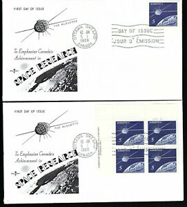 Canada  1966  Space Research Set of 4 Corners FDC's plus Single