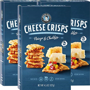 John Wm. Macy's CheeseCrisps   Asiago & Cheddar   Twice Baked Sourdough Crackers