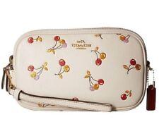 NWT Coach Sparkle Cherry Print Leather Crossbody Clutch 27402 Gold Chalk $195