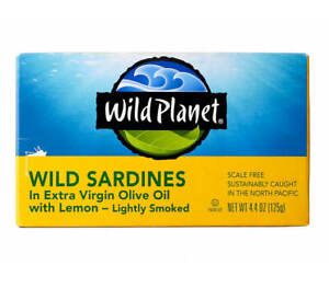 (12 Cans) Wild Planet Sardines Extra Olive Oil With Lemon  4.3 oz Each Exp 6/22