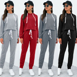 Womens Ladies Long Sleeve Lounge Wear Set Casual Comfy Two Piece Sport Tracksuit