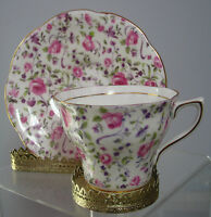 Vintage Rosina Cup & Saucer  ,England, Chintz Pink Roses