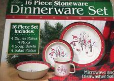 Royal Seasons Stoneware SNOWMAN Stockings 16 Pc Dinnerware Dishes Set NEW in Box
