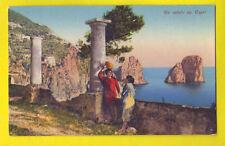 Cartolina CAPRI NAPOLI - Animata Donne e faraglioni - Campania