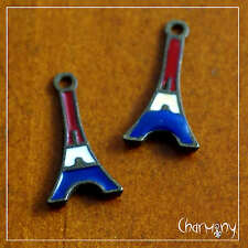 Tiny Eiffel Tower charms ~ PACK of 2 bronze enamel red white blue France Paris