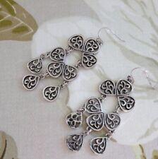 Stile Antico Silvertone in lega Lampadario Filigrana Goccia Piercing Orecchini
