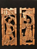 Vintage COLONIAL AMERICANA  Plaster Wall Plaques BLACKSMITH  BUTTER CHURN USA