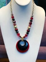 "Vintage Signed Kim Rogers  Black Red Gold  Beads Pendant Necklace  18"" NWT"