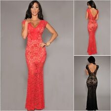 Red Black Sheer Lace Maxi Evening Dress Gown Party Prom Gala Dinner UK8-10