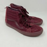 Vans burgundy high top suede sneakers back zips mens sz 11