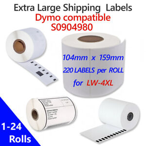 Extra Large Shipping Label Rolls S0904980 for Dymo LabelWriter 4XL, 1-24 non-OEM