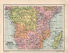 1934 MAP ~ CENTRAL AFRICA ~ ANGOLA KENYA TANGANYIKA BELGIAN CONGO TRANSVAAL