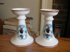 Pair of Villeroy & Boch Naif Christmas Candle Holders Brown Hallmark