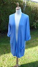 Jigsaw sky blue wool mix 3/4 sleeved long line cardigan size S              (C1)