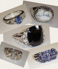 Vintage LOT Sterling Silver Rings 925 Gemstone Onyx Rhinestone 7, 7.5, 8