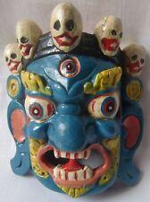 Painted wooden devil face mask tribal hand carved demon statue vintage folk art