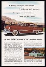 DeSoto  print ad 1953 brown, green car, mountain roads