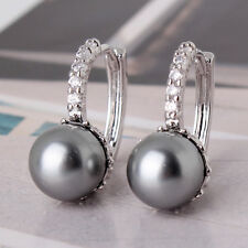 pearl sparking shinning hoop earring 18k white gold filled attractive lady