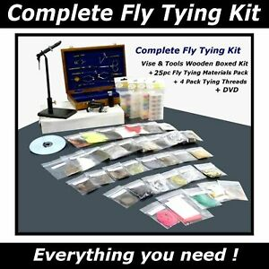 Complete Fly Fishing Tying & Tools Kits - 3 Vise Options - Materials Threads DVD