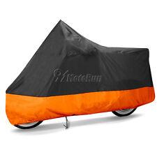 L Motorcycle Cover Orange Black Waterproof Bike Outdoor Rain Dust UV Protector