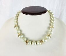 Anne Klein Gold‑Tone Pave Imitation Pearl Collar Necklace