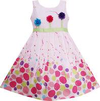 Girls Dress Colorful Dot 3 Flower Green Belt Party Birthday Children Age 4-12