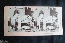 STB470 Scène de genre Couple lit chambre stereoview photo STEREO albumen
