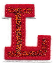 """LETTERS - -Red Sequin  2"""" Letter """"L"""" - Iron On Embroidered Applique"""