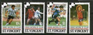 St VINCENT 1990 ITALY WORLD CUP SET OF FOUR COMMEMORATIVE STAMPS SPECIMEN MNH