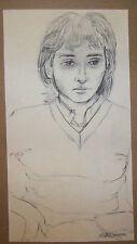 """PORTRAIT OF HANNAH"" by Ruth Freeman CHARCOAL 7 1/2"" X 14 3/4"""