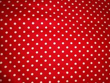 SMALL WHITE POLKA DOTS ON RED Fabric Scrap Quilt Sew Craft
