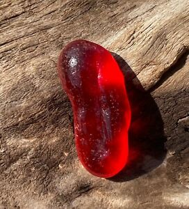 NEAR FLAWLESS JUICY RED SEAGLASS STEM LIKE PIECE FROM SEA OF JAPAN, RUSSIA!