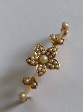 Fine Antique Victorian 15ct Gold Natural Seed Pearl Set Brooch