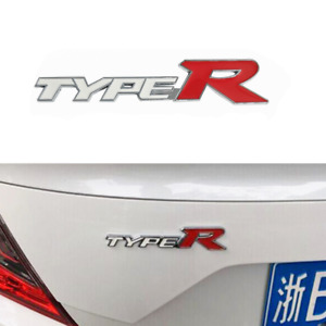 White Red TYPE R Logo Car Fender Rear Trunk Lid Emblem Badge Fit for Acura K