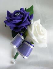 Double rose buttonhole Ivory & Purple
