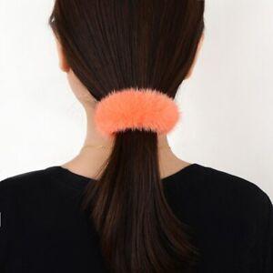 Women Mink Fur Hair Ties Cute Hair Rope Ring Ponytail Holder Scrunchies 37314