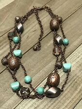 Beaded Necklace Turquoise Boho Hippie Choker Copper