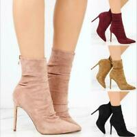 Gladiator Women Pointed Toe Ankle Boots Zipper Suede High Heels Stiletto Booties