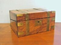 ANTIQUE 19 c. ENGLISH CAMPAIGN WRITING BOX w/ INLAID BRASS box